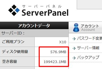 現在のディスク使用量